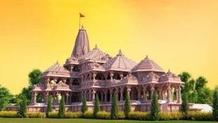 Artist rendition of the Ram temple to be built in Ayodhya India. The first stone was laid by Prime Minister Narendra Modi on 5 August 2020.