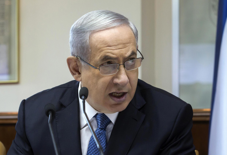 بنیامین نتانیاهو- نخست وزیر اسرائیل، در دیدار هفتگی با هیأت دولت. ٢٣ نوامبر ٢٠١٤