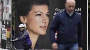 Le mouvement «Debout» est initié par Sarah Wagenknecht, égérie de la gauche radicale «Die Linke». Sur la photo: en campagne pour «Die Linke» lors des législatives de septembre 2017.
