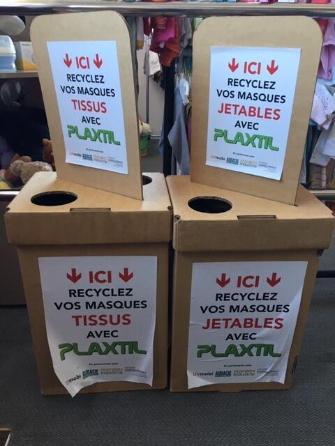 Plaxtil, start up francais, recycle des masques jetables. On les collecte dans 50 bornes à Chatellerault, à disposition des habitants,
