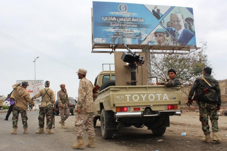 Combatientes separatistas en Adén, 28 de enero de 2018.