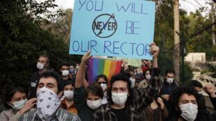 Les étudiants de l'université turque du Bosphore manifestent contre la nomination de leur recteur par le président Erdogan, le 6 janvier 2021.
