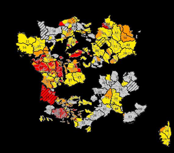 Les zones rouges sont en crise, les zones orange en alerte.