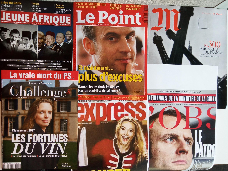 Capas de magazines news franceses de 17 de junho de 2017