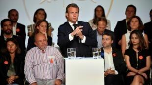 """Tổng thống Pháp Emmanuel Macron phát biểu tại điện Elysée ngày 17/09/2019 nhân sự kiện """" France Digitale Day 2019""""."""