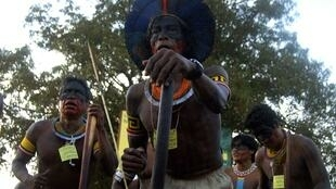 Manifestation d'Indiens contre le barrage de Belo Monte.