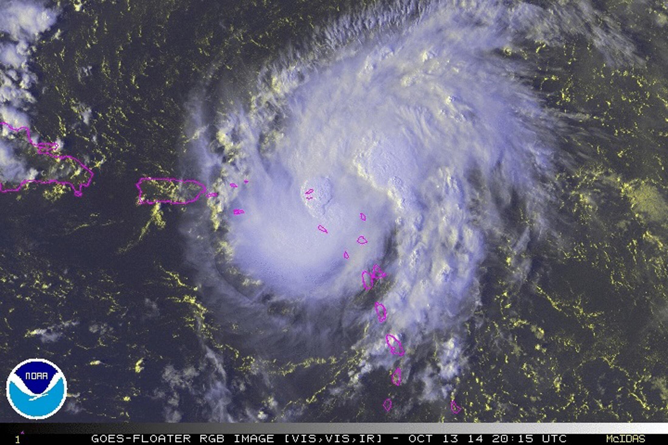 Hurricane Gonzalo over the Caribbean Ocean in a NOAA satellite image, 13 october 2014.