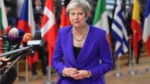 英国首相梅在欧盟脱欧峰会上   2018年10月18日