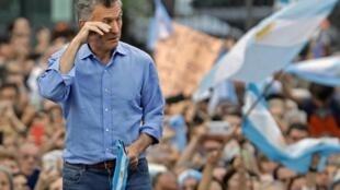 Le président argentin Mauricio Macri lors d'un rassemblement d'adieu au palais présidentiel de Casa Rosada sur la place Plaza de Mayo, à Buenos Aires, le 7 décembre 2019.