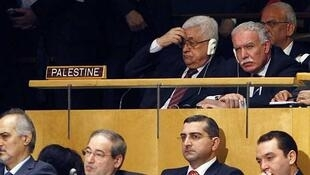 O presidente da Autoridade Palestina Mahmoud  Abbas na ONU, no dia 21 de setembro de 2011.