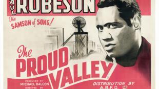 L'affiche du film annonce la sortie britannique de «The Proud Valley» (également connu sous le nom 'The Tunnel') avec Paul Robeson, 1940.