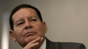 O vice-presidente brasileiro, Hamilton Mourão, falou com os correspondente da imprensa internacional.