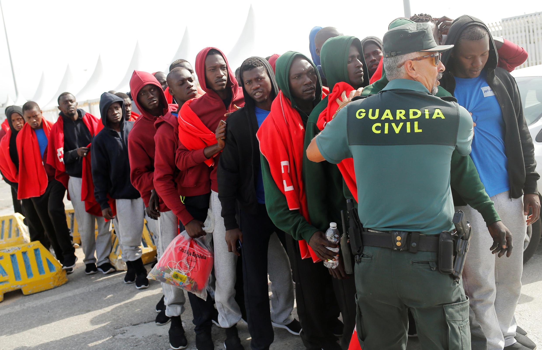 Người tị nạn đến bờ eo biển Gibraltar, Tây Ban Nha, ngày 01/08/2018.