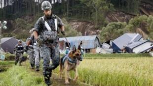 北海道地震 救援人员搜寻生还者。2018-09-07