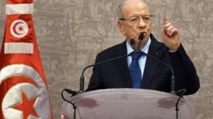 Le président tunisien  Beji Caïd Essebsi, le 24 décembre 2014, à Tunis.