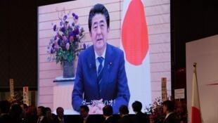 日本首相安倍晉三錄製視頻慶祝中國十一國慶資料圖片