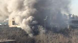 北交大一實驗室12月26日爆炸時產生的濃煙