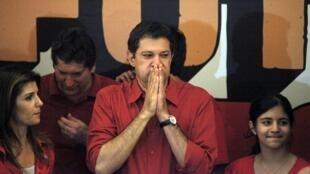 Le nouveau maire de Sao Paulo, Fernando Haddad, à l'annonce de sa victoire le 28 octobre.