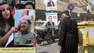 Des affiches de candidats aux élections législatives dans les rues de la ville d'Erbil.