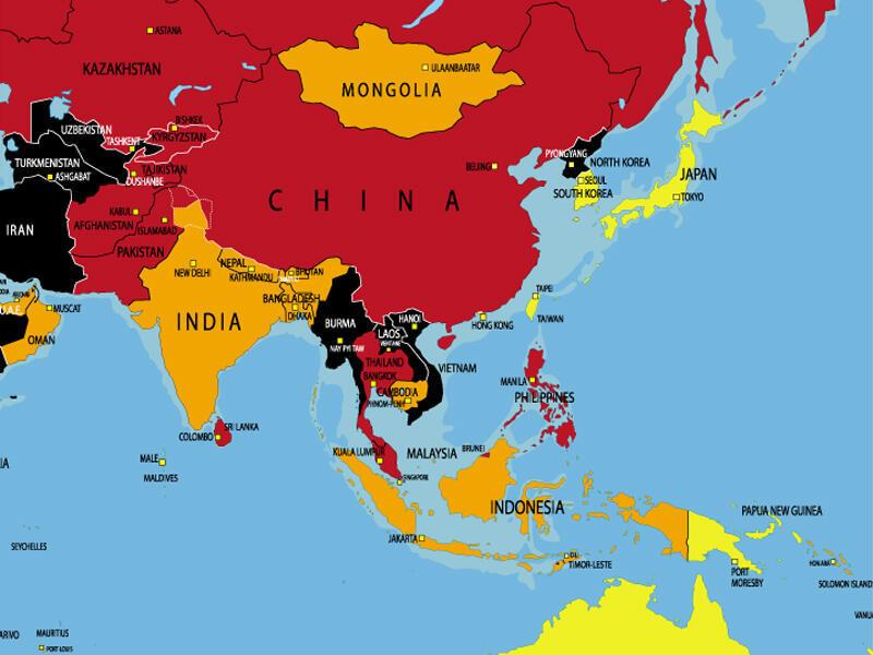 Bản đồ của Phóng viên không biên giới về quyền tự do báo chí trên thế giới. Màu đỏ và đen chỉ các nước ít tự do nhất.