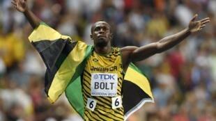 O jamaicano Usain Bolt, campeão dos 100 metros, em Moscou.