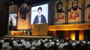 El líder del Hezbolá Sayed Hasan Nasrala frente a partidarios, el 16 de febrero 2013.