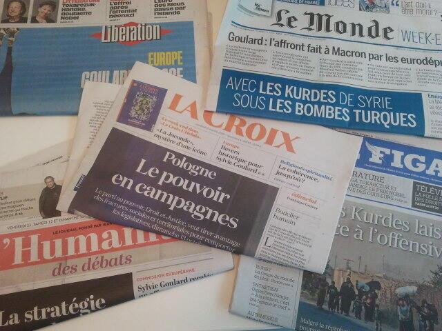 Primeiras páginas dos jornais franceses 11 de outubro de 2019