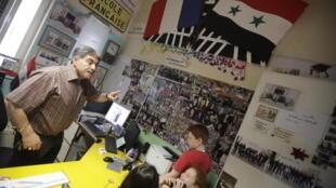 Une classe au lycée français Charles de Gaulle à Damas en mai 2013