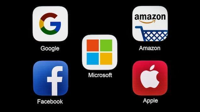 """لوگو غولهای بزرگ اینترنتی جهان: """"گوگل""""، """"فیسبوک""""، """"آمازون""""، """"اَپِل""""، """"میکروسافت"""""""