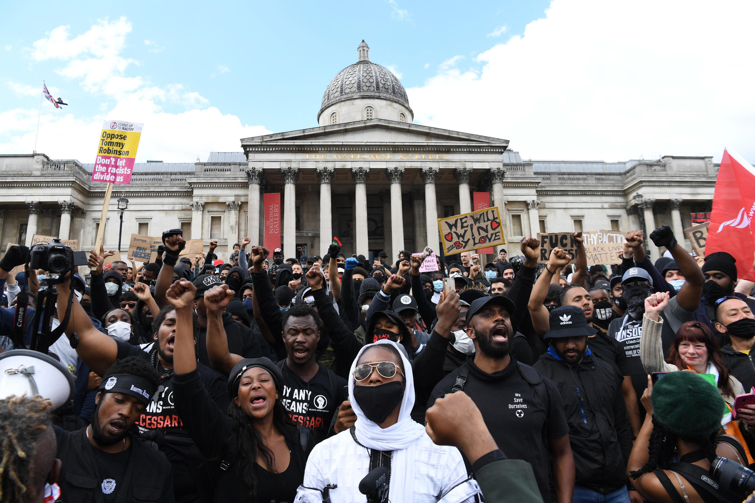 A march by several hundred Black Lives Matter activists through the British capital went ahead at lunchtime Saturday, 13 June, 2020.