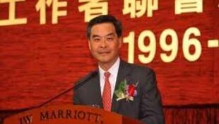 梁振英出席香港新聞工作者聯會十五周年晚會。
