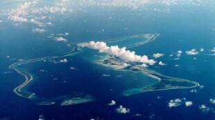 Vue aérienne de l'archipel de Diego Garcia.