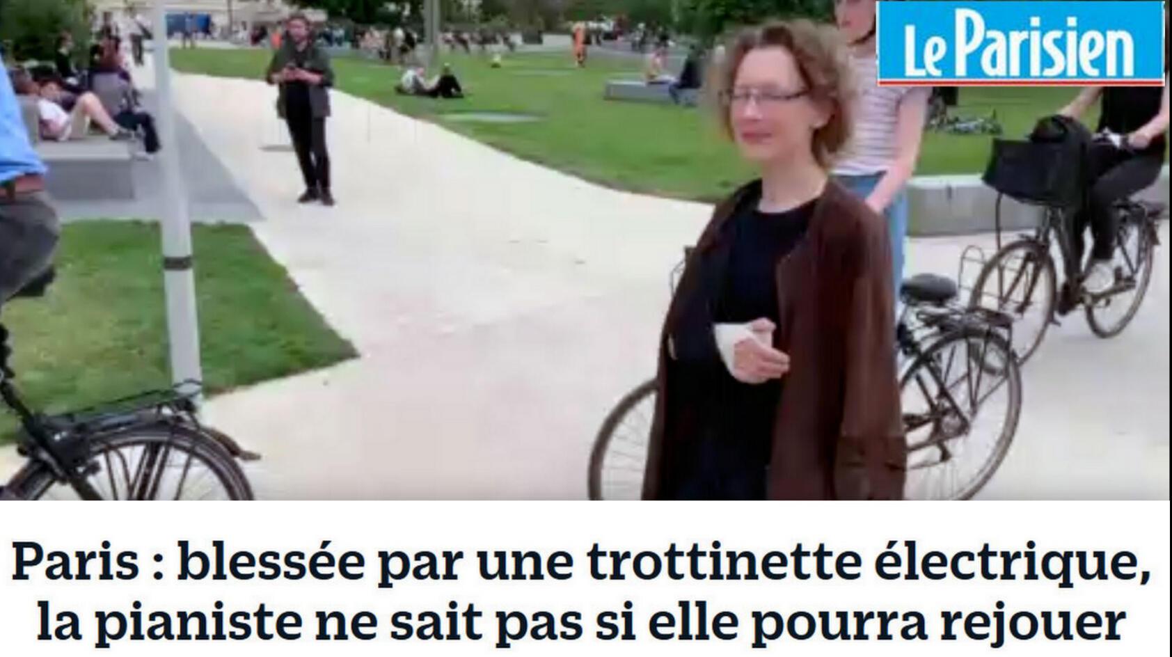 Paris: ferida por uma trotinete elétrica, a pianista não sabe se será capaz de tocar novamente