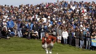 Le golfeur anglais Tyrell Hatton lors de la Ryder Cup.