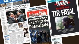Capa dos jornais franceses Le Figaro, Aujourd'hui en France e Libération desta quarta-feira, 29 de outubro de 2014.