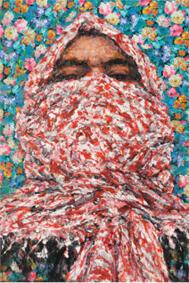 """Ayman Baalbaki, né en 1975 à Odeissé au Liban : """"Al Moulatham"""" (2010), Acrylique sur tissu imprimé et toile, 200 x 150 cm."""