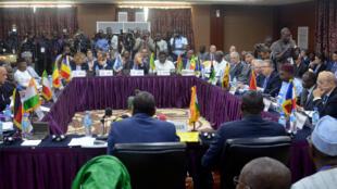 Lors de la réunion entre ministres de l'Intérieur et des Affaires étrangères de neuf pays africains et quatre pays européens, le 16 mars 2018 à Niamey.