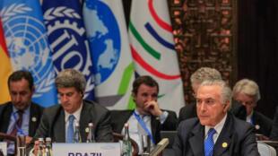 Presidente Michel Temer durante encontro informal do BRICS em Hangzhou, antes do início do encontro do G20.