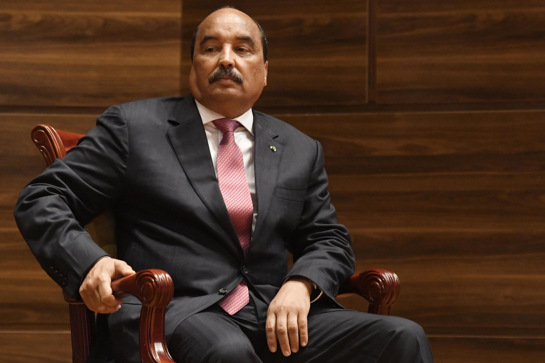 L'ancien président mauritanien Mohamed Ould Abdel Aziz lors de la cérémonie de passation de pouvoirs à l'actuel président, le 1er août 2019 à Nouakchott.