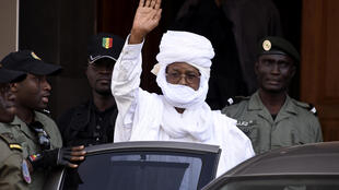 Former Chadian leader Hissène Habré after being interrogated in Dakar 3 June 2015