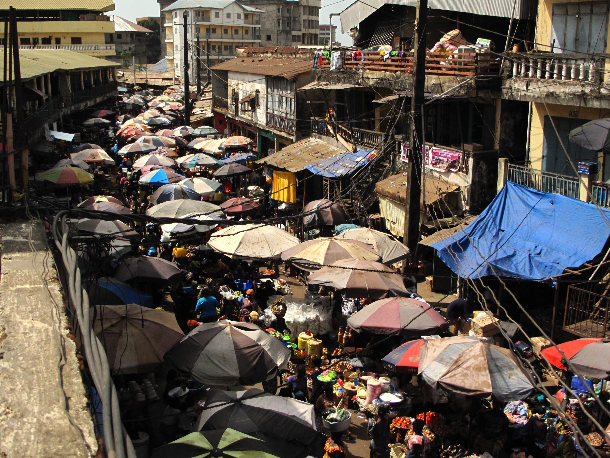 View of a market in the streets of Conakry