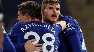 Chelsea's Timo Werner (C) celebrates scoring against Newcastle