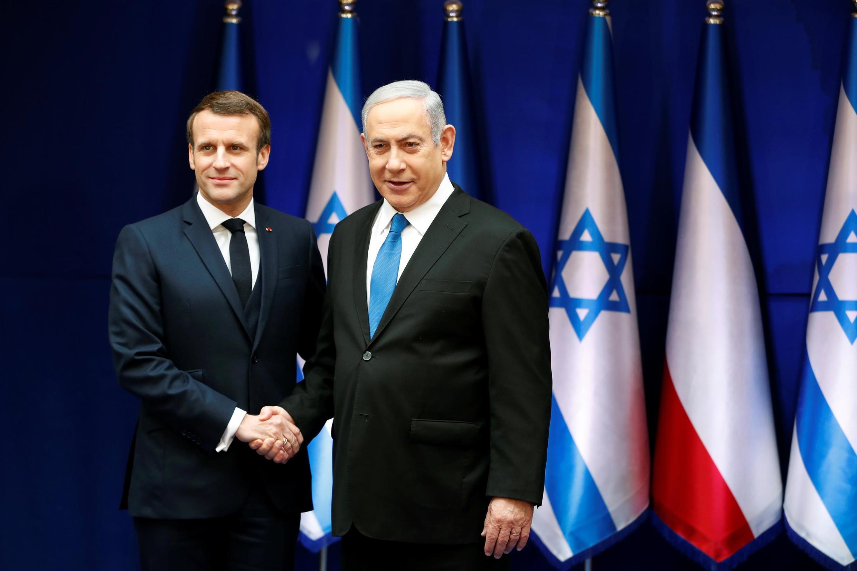 Presidente francês, Macron e primeiro ministro israelita, Benjamin Netanyahu nos 75 anos após genocídio judeu