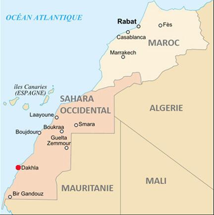 Le territoire du Sahara occidental.