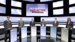Участники теледебатов кандидатов на праймериз французских социалистов в студии France 2 15/09/2011