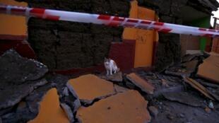 智利中部的伊亚佩尔镇被震塌的墙体2015年9月17日。