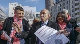 Gerard Collomb, Lyon's mayor and French Socialist party candidate for the municipal elections, campaigns in Lyon, 6 March 2014.