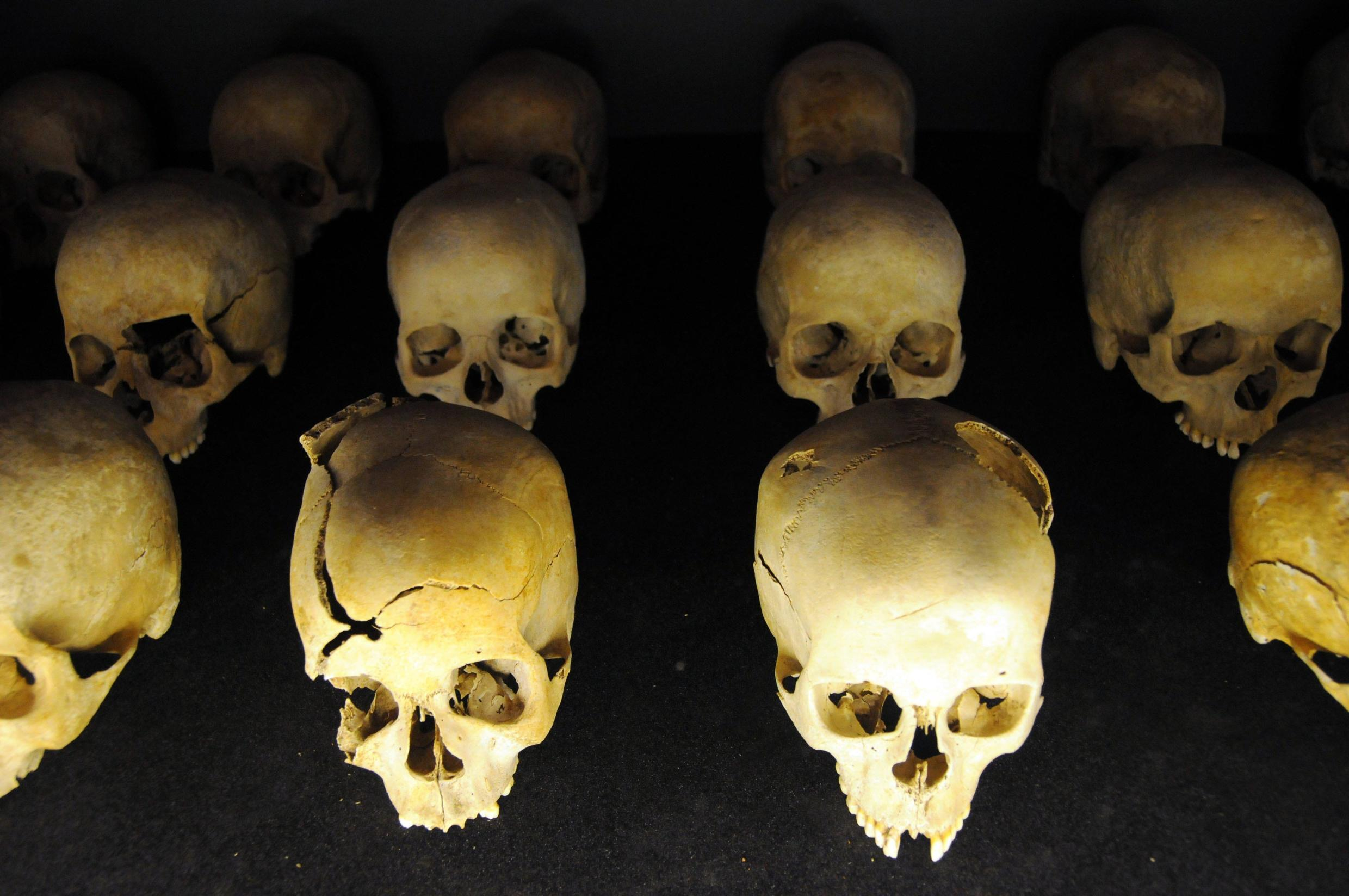 Skulls of victims at Rwanda's genocide memorial in Kigali. Around 800,000 people were murdered over three months in 1994.