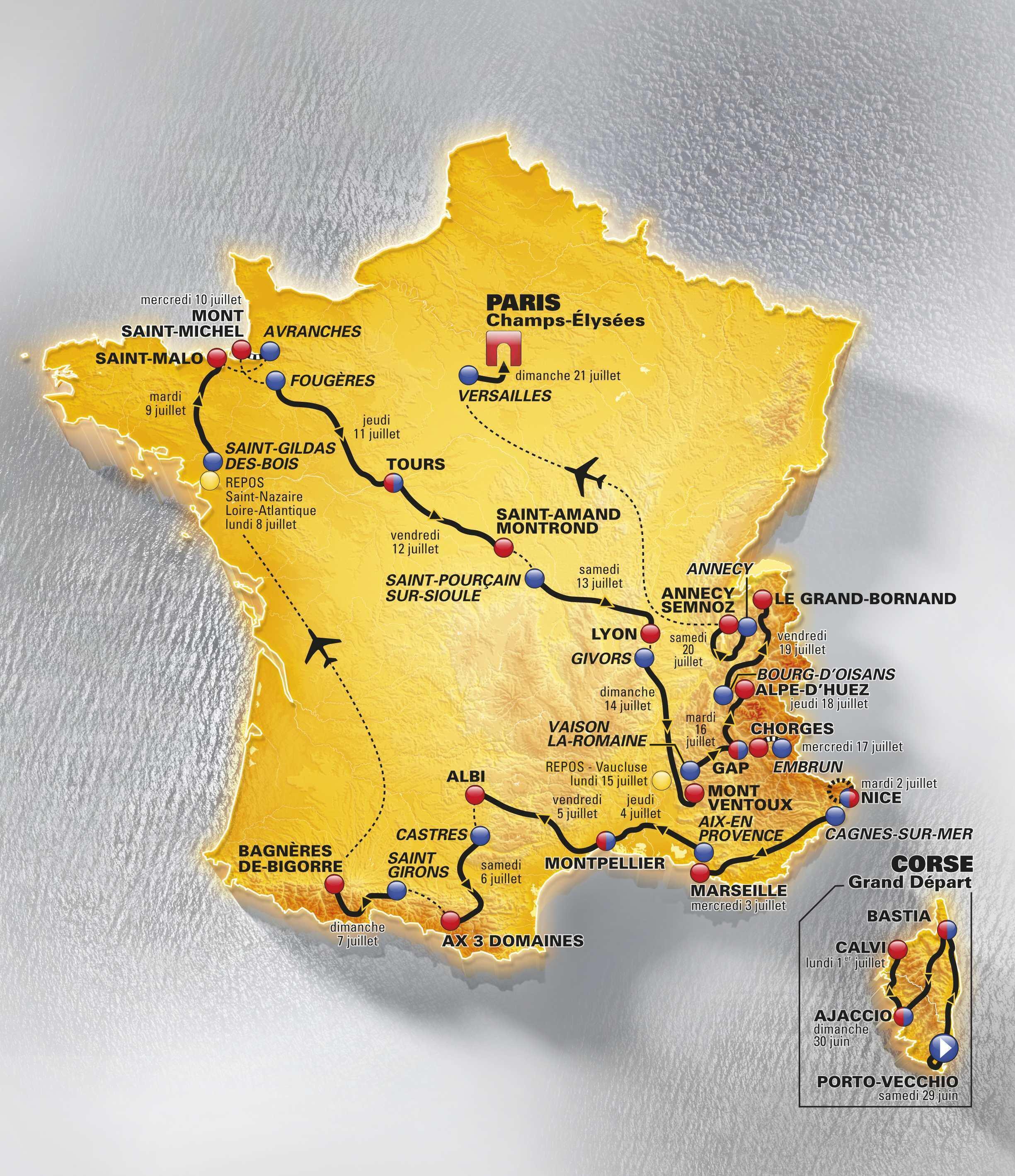 Карта маршрута велогонки Тур де Франс-2013