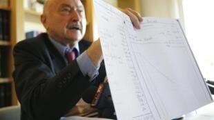 Bettencourt's lawyer Georges Kiejman shows her personal accounts to journalists